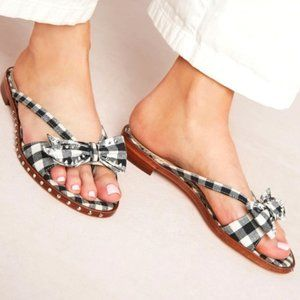 SAM EDELMAN Dariel gingham stud flip-flop sandals